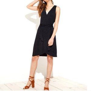 Loft Petite Black Polka Dot Wrap Dress